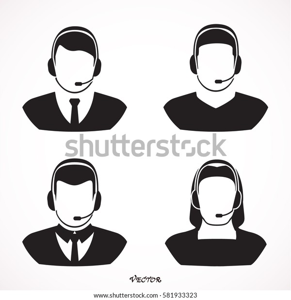 Vector set of call-center operators in headsets. Vector business flat illustration.