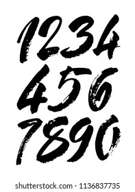 vector set of calligraphic acrylic or ink numbers. ABC for your design, brush lettering on a black background