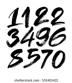 vector set of calligraphic acrylic or ink numbers. ABC for your design, brush lettering