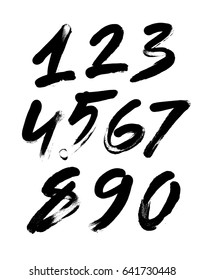 vector set of calligraphic acrylic or ink numbers. ABC for your design, finger lettering