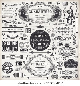 vector set: calligraphic design elements and page decoration, Premium Quality and Satisfaction Guarantee Label collection with vintage engraving flowers - Shutterstock ID 110335817