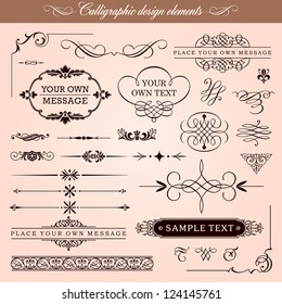 Vector Set: Calligraphic Design Elements, Borders and Page Decoration