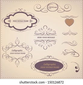 Vector set: calligraphic design elements and page decoration.Vintage frame collection.