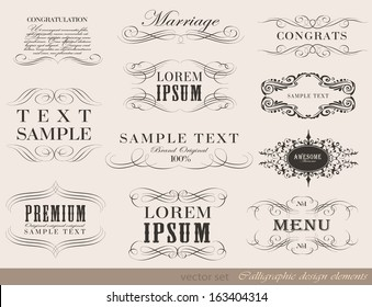 Vector set of calligraphic design elements/ page decoration, guarantee Label, calligraphic frames / vector set