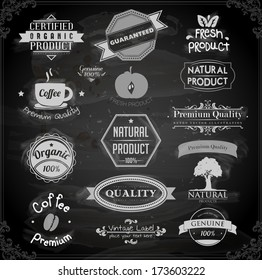 vector set: calligraphic design elements and page decoration, Premium Quality and Natural Product Label collection with black grungy design. Chalkboard variant illustration.
