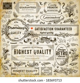 Vector Set of Calligraphic Design Elements: Page Decoration, Premium Quality and Satisfaction Guarantee Label, Antique and Baroque Frames | Old Paper Texture with dirty coffee cup stains.