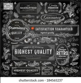 Vector set of calligraphic design elements: page decoration, Premium Quality and Satisfaction Guarantee Label, antique and baroque frames   Chalkboard background. Black illustration variant.