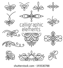 Vector set of calligraphic design elements isolated on white background. Page decorations, dividers, flourishes, vintage frames and headers.
