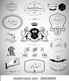 Vector Set: Calligraphic Design Elements, Page Decoration,  Vintage Crests and Emblems, Ribbons, Labels and Cities Lettering