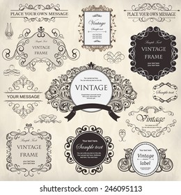 vector set: calligraphic design elements and floral frames.