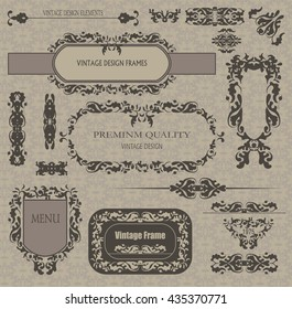 vector set: calligraphic design elements and page decoration, framework.