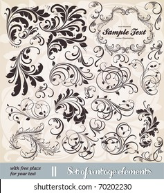 vector set: calligraphic design elements and page decoration - lots of useful elements to embellish your layout. With seamless ornament.