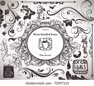 vector set: calligraphic design elements and page decoration - lots of useful elements to embellish your layout. With Ex-libris.