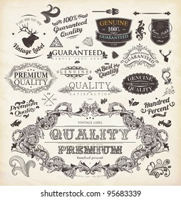 vector set: calligraphic design elements and page decoration, Premium Quality and Satisfaction Guarantee Label collection with detailed vintage floral frame and deer head