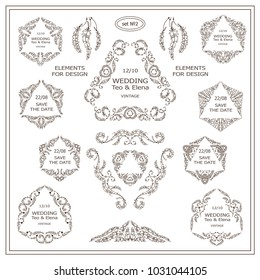 Vector set of calligraphic elements for design. Triangle template for logo, monogram, wedding or engagement invitation in boho, ethnic style. Ornate elements consisting of feathers, beads