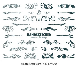 Vector set of calligraphic elements for design. Hand drawn cute arrows, indexes, dividers consist from beautiful vintage flowers, ear of wheat, leaves. Ornate and silhouette options
