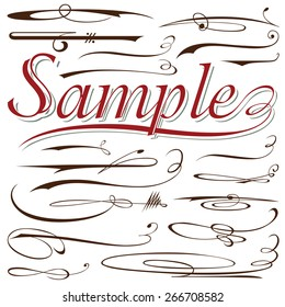 vector set of calligraphic elements for design inscriptions in vintage style