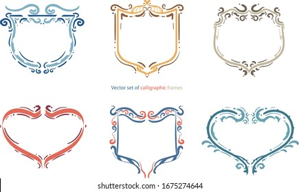 Vector set of calligraphic frames. Vintage style filigree set of calligraphic elements.,Hand drawn frames set., Decorative elements