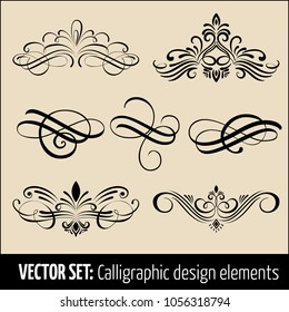 Vector set of calligraphic and page decoration design elements. Elegant elements for your design. Modern handwritten calligraphy elements. Vector Ink illustration