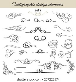 Vector set calligraphic vintage borders, vignettes; decorative elements.