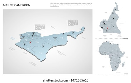 Vector set of Cameroon country.  Isometric 3d map, Cameroon map, Africa map - with region, state names and city names.