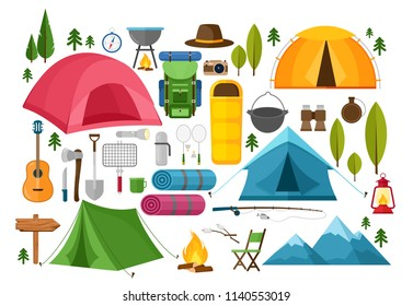 Vector set of camping equipment symbols, icons and elements. Summer hiking collection with tent, hat, binoculars, campfire, mountains, camera, bag, guitar, fishing rod, compass. Hike elements.
