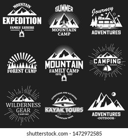 Vector set of camping, outdoor adventure, mountain expedition, kayak tours, forest camp vintage white logos, emblems, labels and badges on black background.