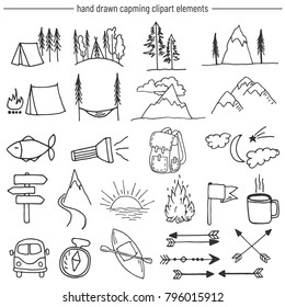 Vector set of camping related doodle illustration. Clipart pack