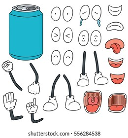 vector set of can cartoon