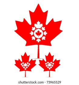 vector set of canada maple leaf