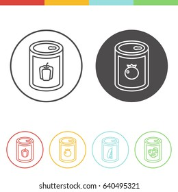 Vector set of canned vegetables icons in thin line style