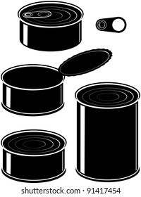 Vector set of cans - canned food - isolated illustration black on white background