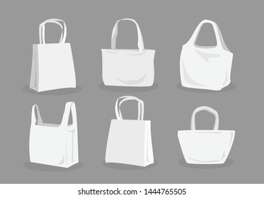 Vector set of canvas bags white color. Mock-up