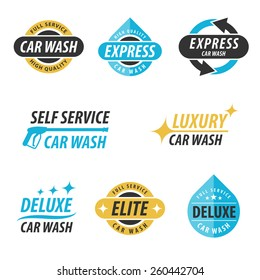 Vector set of car wash logotypes: for express, full service, self service, luxury, elite and deluxe car wash. Eps 10.