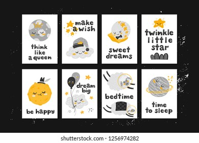 Vector set of cards with cute cartoon characters and phrases. Beautiful posters for baby rooms or bedroom. Childish backgrounds with moon, stars, cloud, planet, sheep. Hand drawn letters.