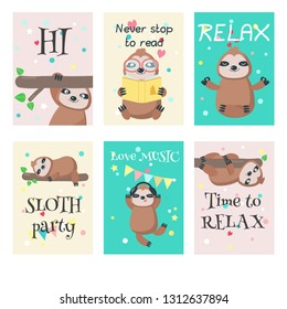 Vector set of cards with cute sloths and quotes. Lazy jungle animals cartoon characters hanging upside down, sleeping, reading book, listening to music, sitting in yoga pose.