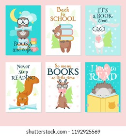 Vector set of cards with cute wild animals and handwritten inspirational quotations. Vector illustration of funny animals squirrel, hedgehog, owl, bear, rabbit and deer reading books.