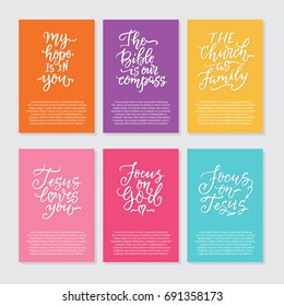 Vector set of cards with religious lettering. Modern lettering illustration. Perfect illustration for t-shirts, banners, flyers and other types of business design.