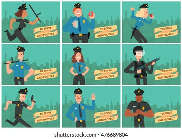 """Vector set of cards with silhouettes of buildings and with cartoon images of police men and women in police uniform, in different poses on a green background. Inscription """"To Serve and Protect""""."""