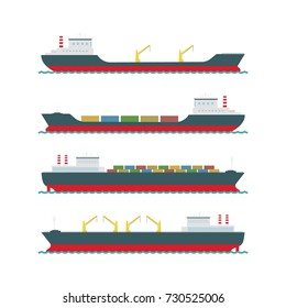 Vector set  cargo ships on white background