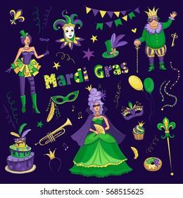 Vector set of Carnival Mardi Gras. Colored drawings on dark purple background.