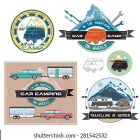 Vector set of cars and camping to stay. Vector elements:the machine, camp, camping, mountains, forest, summer. Hand drawing objects are isolated on white.