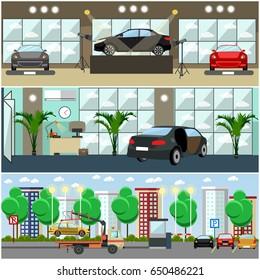 Vector set of cars concept posters, banners. Car show, car shop, parking lot interior flat style design elements.
