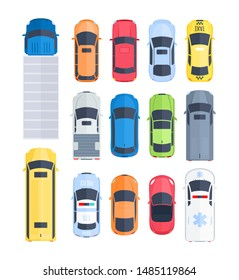 Vector set of cars top view in cartoon flat style. City vehicle transport icons. Trucks, sedan, hatchback, police, ambulance cars. Street city traffic and transport elements. Automobile transportation