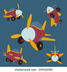 Vector Set of cartoon airplanes in different perspectives