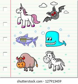 vector set, cartoon animals