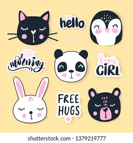 Vector set with cartoon animals - bear, panda, bunny, penguin, cat. Funny animals series. Fashion hand drawn Cute faces.