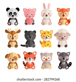 Vector set of cartoon animals in the flat style. Hare, jaguar, tiger, pig, puppy, raccoon, panda and others.