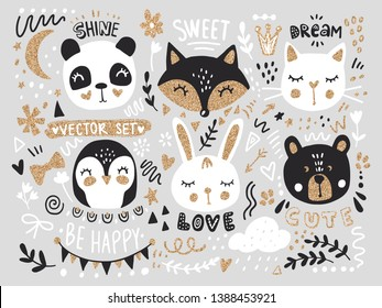 Vector set with cartoon animals - fox, bear, panda, bunny, penguin, cat, cute phrases and elements. Funny animals series with golden glitter. Hand drawn stickers.