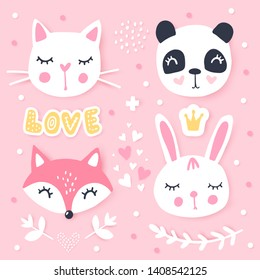 Vector set with cartoon animals - panda, bunny, cat, fox. Funny series animals. Adorable animals. Bright stickers collection. Cute Patches, pins, badges
